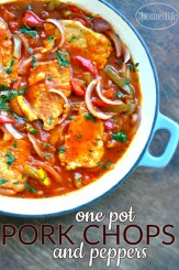 Easy and Delicious One Pot Pork Chops and Peppers via www.firsthomelovelife.com