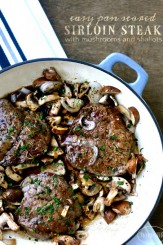 Sirloin Steak with Mushrooms and Shallots in a delicious sauce via firsthomelovelife.com