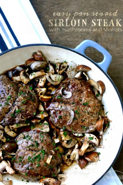Sirloin Steak with Mushrooms and Shallots