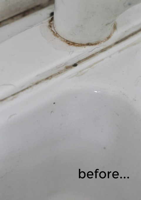 gunk around faucet before