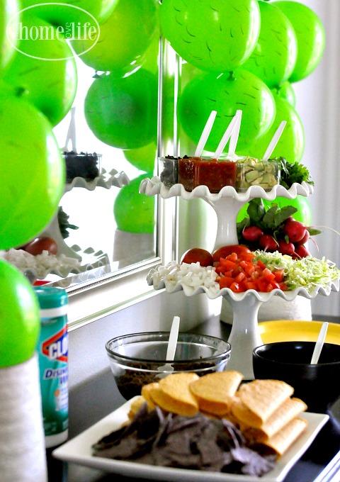 taco bar party setup via firsthomelovelife.com