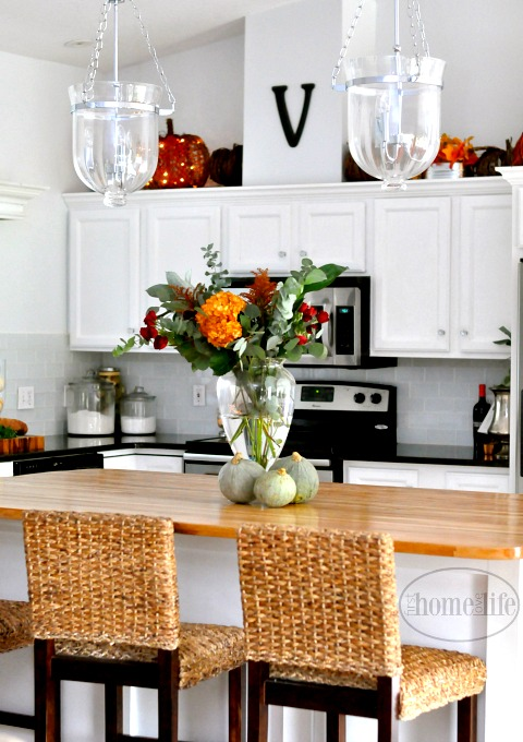 Beautiful White Kitchen Decorated For Fall Via Firsthomelovelife