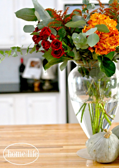 Fall kitchen decorating first home love life pretty fall flower arrangement via firsthomelovelife com mightylinksfo