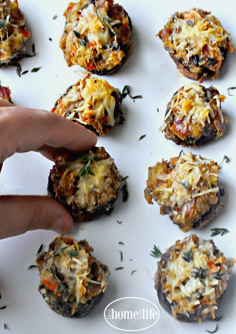 STUFFING STUFFED MUSHROOMS- A GREAT RECIPE FOR THANKSGIVING VIA FIRSTHOMELOVELIFE.COM