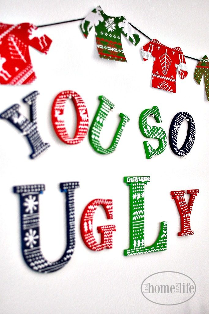 ugly christmas sweater party ideas via firsthomelovelifecom - Ugly Christmas Sweater Party Decorations