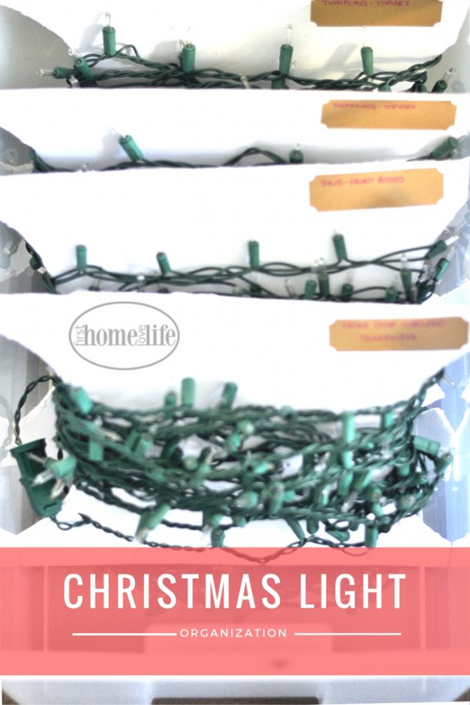 ORGANIZE CHRISTMAS LIGHTS SO THEY WONT BECOME TANGLED | Easy and inexpensive DIY Christmas storage solutions via firsthomelovelife.com
