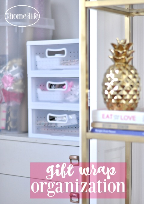 how to neatly and easily store your gift wrap for holidays and all occassions so you can have access to it all year | Gift Wrap Organization via firsthomelovelife.com