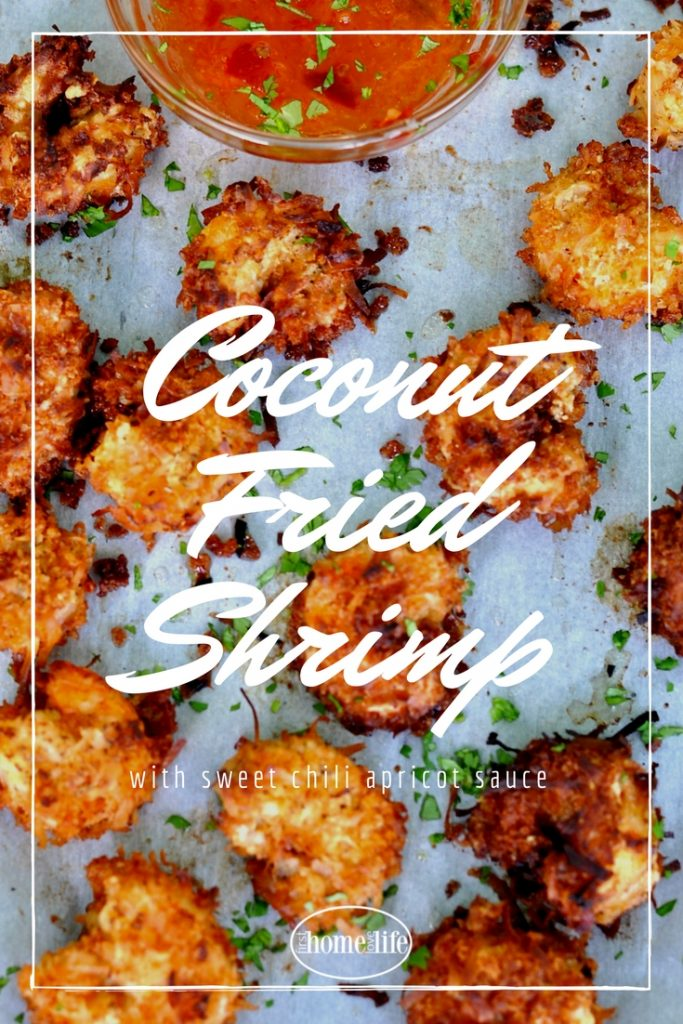 Easy coconut fried shrimp recipe with the perfect sweet and spicy chili apricot dipping sauce via firsthomelovelife.com