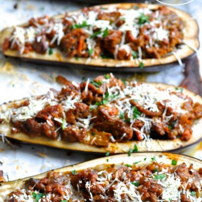 Stuffed Eggplant Parmesan Boats