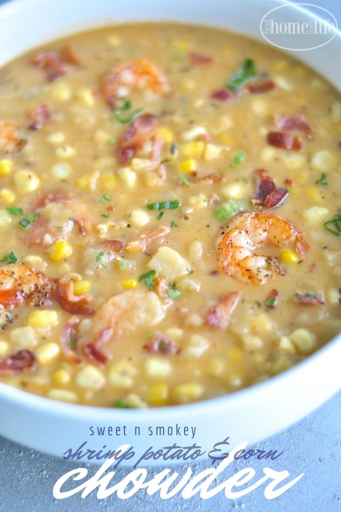 shrimp potato and corn chowder via firsthomelovelife.com