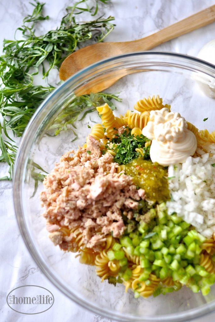 sweet and savory tarragon tuna pasta salad via firsthomelovelife.com