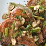 pork chops with mushroom and onion gravy via firsthomelovelife.com