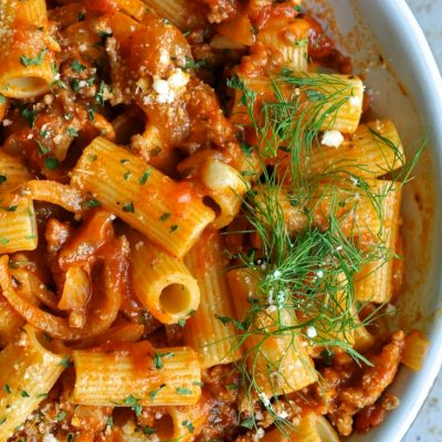 Creamy Rigatoni with Ground Sausage and Fennel