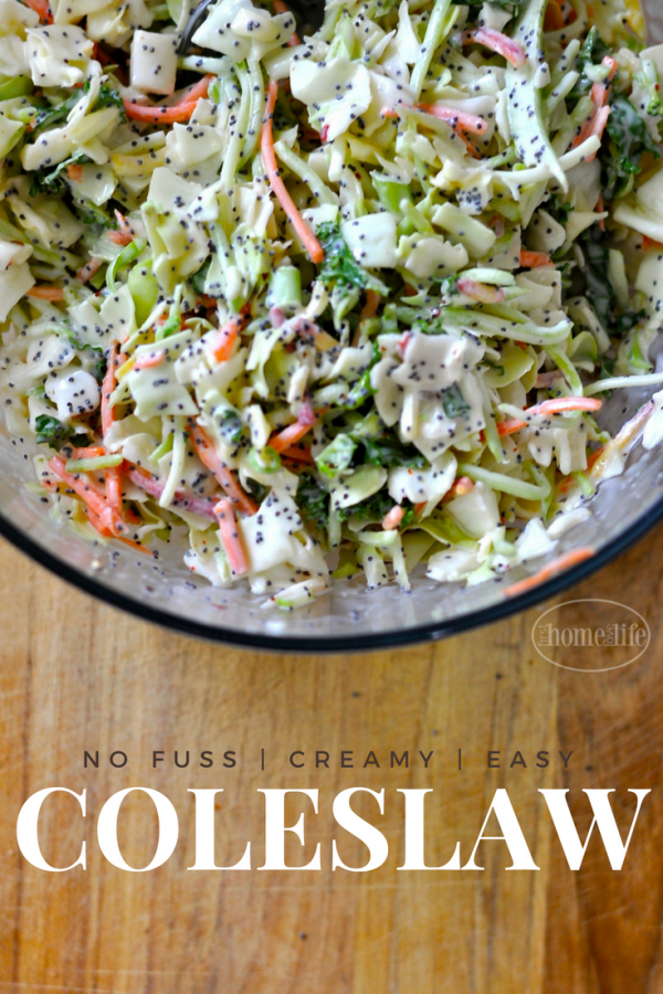THIS CREAMY SWEET COLESLAW IS SO EASY TO MAKE AND IS ALWAYS A HIT AT OUR BBQ! VIA FIRSTHOMELOVELIFE.COM